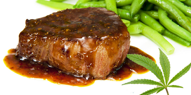 Steak with chili chocolate cannabis sauce